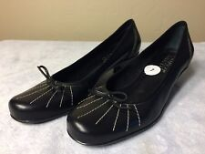 FRANCO SARTO Womens Size 7 M Black Leather High Heel Shoes Slip On Bowl Tie