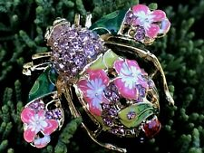 Bumble Bee Insect Bug Crystal Rhinestone Fashion Pin Brooch Pink Flower Enamel