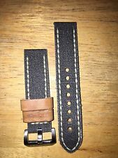 Lum-Tec 22mm Canvass & Italian Leather Genuine OEM Watch Band