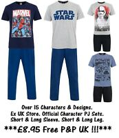 MENS CHARACTER PYJAMAS 2 PIECE SET EX UK STORE NIGHT WEAR PJ SETS XS-XXL NEW