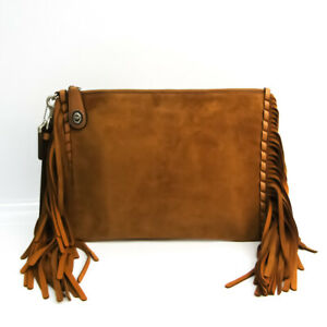 Coach Fringe 86840 Women's Leather,Suede Clutch Bag Brown BF534482