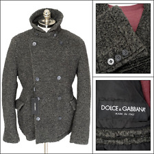 DOLCE & GABBANA Gray Flannel Wool Double Breasted Peacoat Jacket 54 44 XL NWT