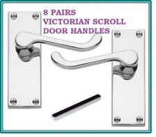 8 Silver CHROME DOOR HANDLE PACKs Victorian Scroll Lever Latch 118mm X 43mm D24