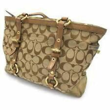 COACH Signature C Gallery Leather Jacquard Canvas Tote Purse Handbag 10384 BEIGE