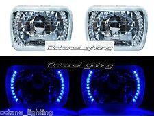7X6 Blue LED Halo Halogen Crystal Clear Headlights Angel Eye Light H4 Bulbs Pair