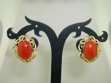 14K SOLID GOLD ANGEL SKIN CORAL PIERCED EARRINGS! ESTATE FIND AMAZING COLOR