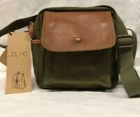 ZLYC Small Canvas Camera Bag  Olive with Leather Shoulder Strap Messenger Bag