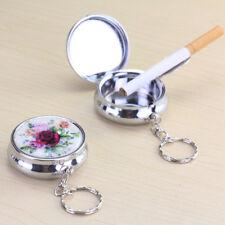 FJ- Flower Car Mini Pocket Stainless Steel Round Cigarette Ashtray Keychain _GG