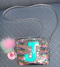 "Justice Crossbody Purse Initial ""J� Iridescent Pastel Flip Sequins Super Cute!"