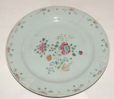 ANTIQUE PORCELAIN PLATE CHINESE FAMILLE ROSE FLORAL DECORATED HAND PAINTED AS IS