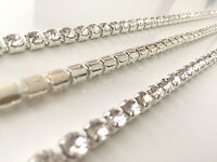 1 Metre Diamante/Crystal Chain Close Link Chain Silver A++ Quality Wedding Cake