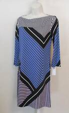 Diane von Furstenberg Ruri Sailor chevron purple blue shift dress boatneck 10