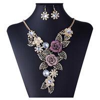 Eg _ Damen Hohl Blume Anhänger Choker Kette Statement Halskette Ohrringe Sanwood