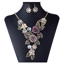 FT- Women Hollow Flower Pendant Choker Chain Statement Necklace Earrings Sanwood