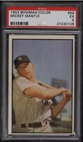 1953 Bowman Baseball Color #59 Mickey Mantle PSA 5 EX New York Yankees HOF