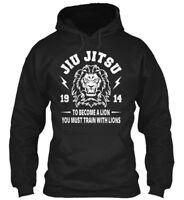 Jiu Jitsu Bjj Become A Lion Mma Gildan Hoodie Sweatshirt