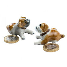 Miniature Ceramic Bulldog Sitting Figurine Ornament (Pack of Two)