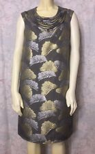 VERA WANG Brocade Jacquard Gray/Silver/Gold Sheath Dress w/silk lined sz M/8/42