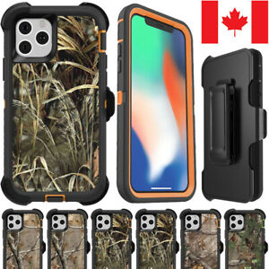 iPhone 11 Pro Max X XS XR Camo Realtree Forest Defender Cover Hybrid Case + Clip