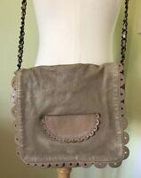 See by Chloe Womens Small Scallop Edge Bow Strap Crossbody Handbag Leather Tan