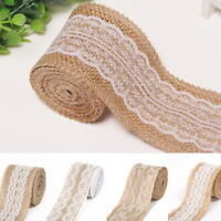 WIRED,NATURAL HESSIAN LACE RIBBON,JUTE,BURLAP,50mm,40mm,100mm FLORAL,CHRISTMAS,