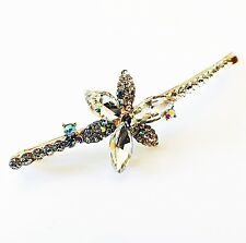 USA Bobby Pin Using Swarovski Crystal Hair Clip Hairpin Flower GOLD Long E01