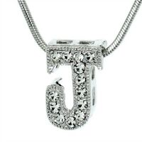 """J Letter Charm Pendant Made With Swarovski Crystal Initial 18"""" Chain Necklace"""