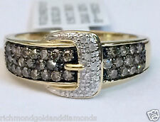 Buckle Ring Right Hand Fashion Band 0.50ct Champagne White Diamonds Yellow Gold
