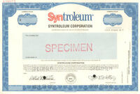 Syntroleum Corporation > Specimen Delaware old stock certificate share