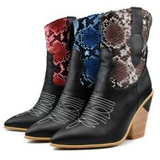 Womens Fashion PU Leather Animal Print Block Heel Cowboy Ankle Boots Shoes BGHE