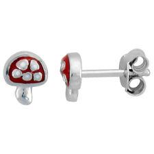 Sterling Silver Child Size Mushroom Earrings w/ Red Enamel Design