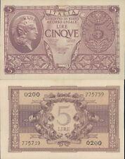 LUOGOTENENZA 5 LIRE ATENA ELMATA DEC.23/11/1944  F.D.S. AL.