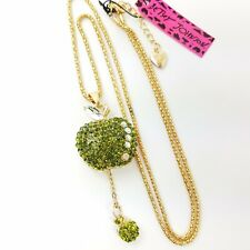 Betsey Johnson Rhinestone Green Apple Necklace Tiny Drop Apple Charm Gold Chain