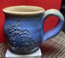 Franklin, Kentucky Blue Handcrafted  Studio Pottery Mug Incised Building Signed