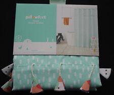 Pillowfort Tassel Shower Curtain Flowers Turquoise Green Kids NIP Target