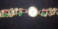 Vintage Jennie B Golf Themed Charm Slide Quartz Women Bracelet Watch New Battery