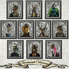 Steampunk Animals Print Vintage Dictionary Page Picture Set Wall Art