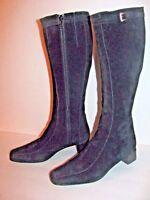 WOMEN'S  BLACK LEATHER SUEDE 6 M  14 IN. TALL BOOTS 1 1/2 IN. HEEL * ITALY
