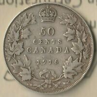 1916 Canada 50 Cents- 92.5% AG- ICCS: F-12- Only 459,070 Minted- Beauty~