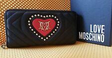 Love Moschino Black and Red Studded Heart Zip-Around Monogram Wallet