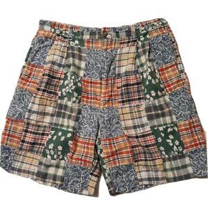 vtg 90s euc Tommy Hilfiger Pleated Front Tan Twill Shorts Crest Logo sz 35