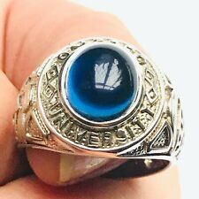 OXFORD UNIVERSITY BLUE SAPPHIRE CRYSTAL CABOCHON STERLING SILVER RING