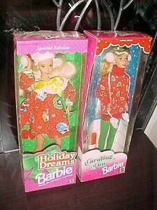 TWO BARBIES DOLLS Holiday Dreams, CAROLING FUN  1994, 1995 NRFB NEW!!
