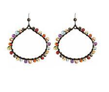 Anna Balkan Lily Wrapped HOOP Multi Gemstone Earrings STERLING SILVER + Gift Box