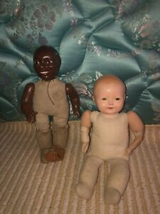 lot two composition dolls Ideal Jemima tickle toes