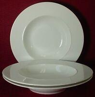 "CRATE & BARREL china EPOCH WHITE pattern SOUP BOWL 9-1/4"" set 3 Kathleen Wills"