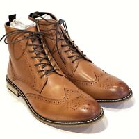 Bar III Hendrix Leather Wingtip Boots Brown Brogue Leather Lace Up Dress Casual