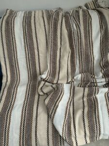 Pair Woven Vintage Retro Mid-Century Curtains - Adjustable Width Earthy Neutral