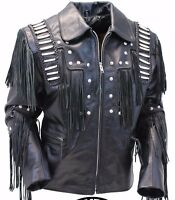 Traditional Mens Western Leather cowboy Jacket coat with fringe bones and beads