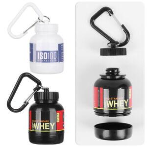 Mini Portable Protein Powder Bottle Supplement W/ Keychain Funnels Water Bottle